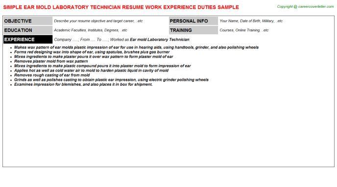 Ear Mold Laboratory Technician Job Title Docs