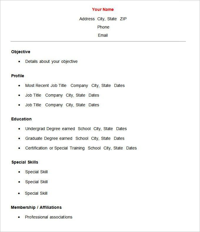 template proffesional basic resumes templates template winning ...