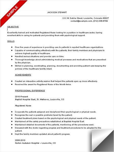 Resume Objective For A Nurse - Resume CV Cover Letter