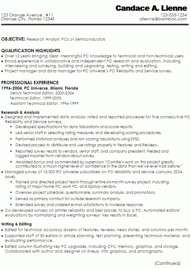 Resume for a Technical Writer, Research Analyst - Susan Ireland ...