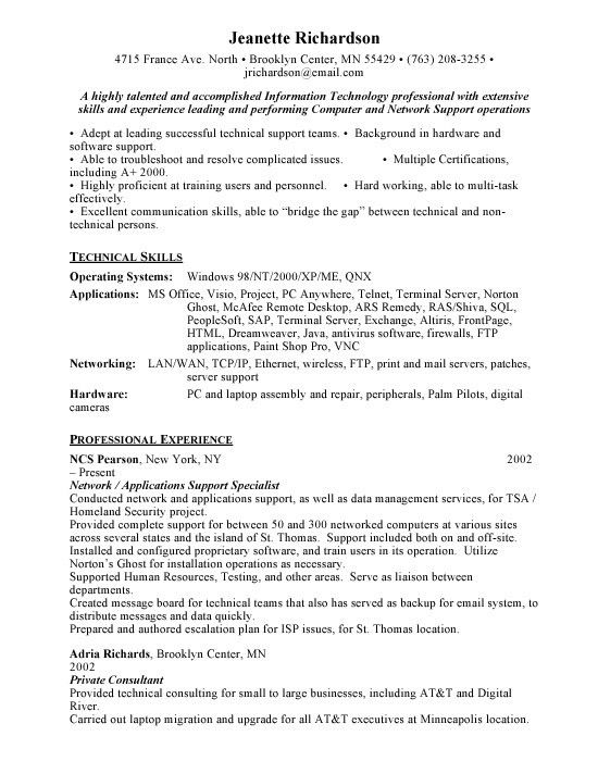 technical support resume examples