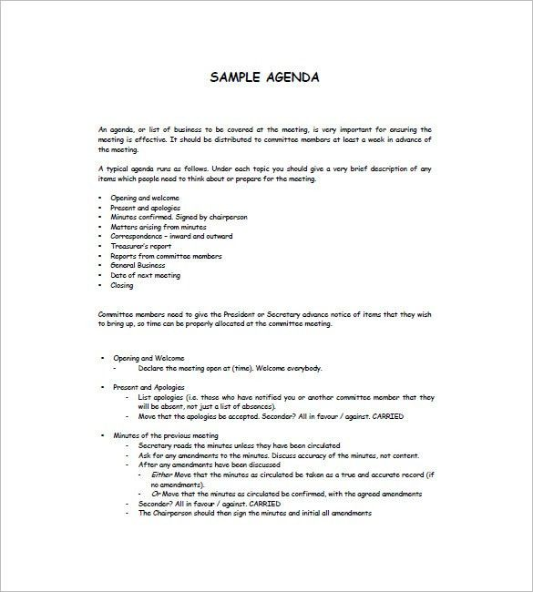 Simple Agenda Samples. How To Prepare A Basic Training Module Free ...