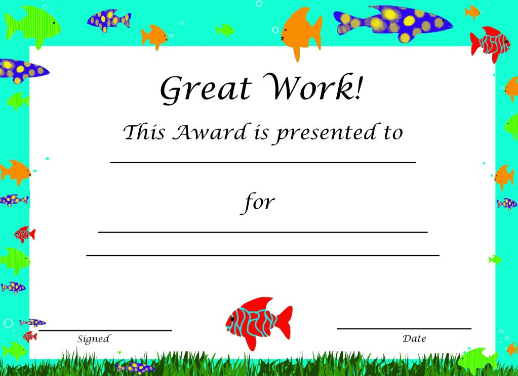 Free Printable Award Certificate Templates For Kids CertificateZet ...