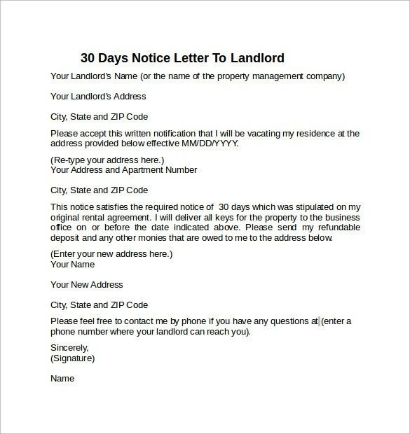 30 Day Notice Letter Template. 30 Day Lease Termination Letter Pdf ...