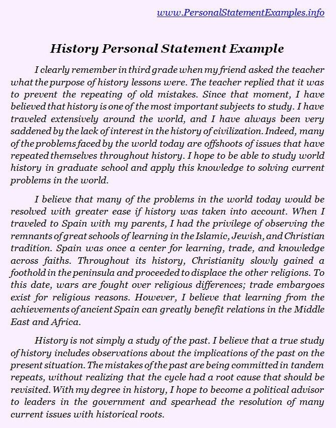 Best History Personal Statement Examples http://www ...