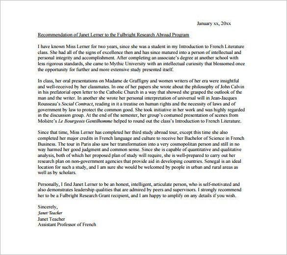 Sample Professor Recommendation Letter. Editable College ...