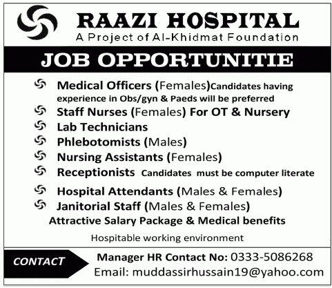 Medical Officer, Staff Nurses, Lab Technician Jobs in Raazi Hospital