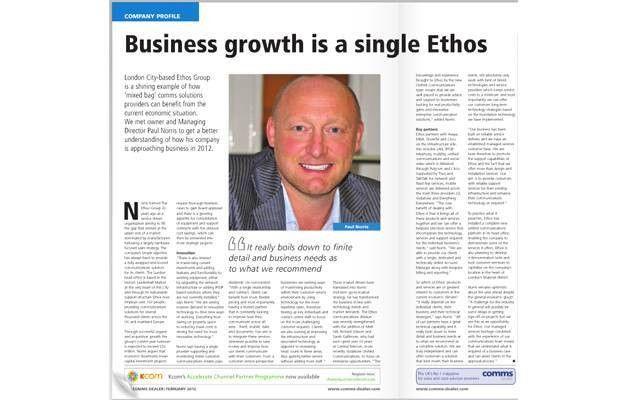 "Comms Dealer magazine calls Ethos a ""shining example"" 