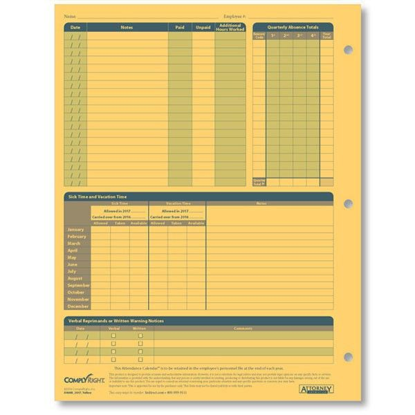 Monthly Employee Attendance Calendar Sheets - Blank Forms