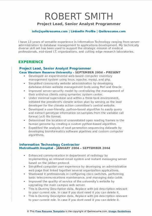 Bioinformatics Programmer Resume - Ecordura.com