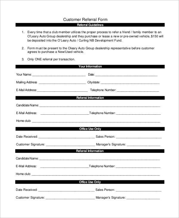 Sample Referral Form - 10+ Examples in Word, PDF