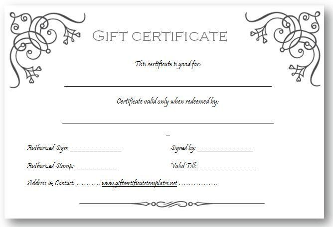 Gift Certificate Template | Beautiful Printable Gift Certificate .