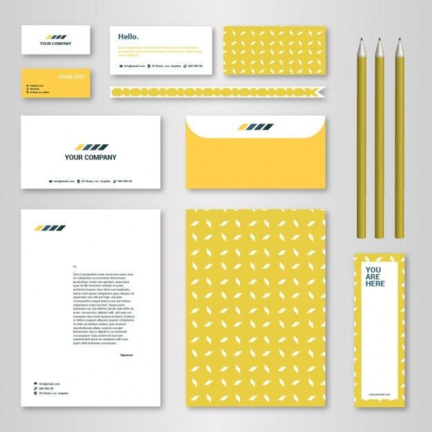 Corporate identity template with yellow pattern for brandbook and ...