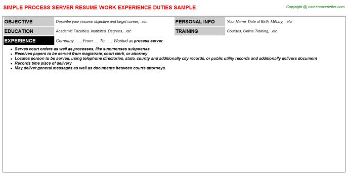 Process Server Resume Sample