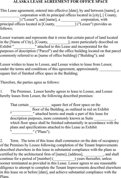 28+ Office Space Lease Agreement Template | Alaska Rental .