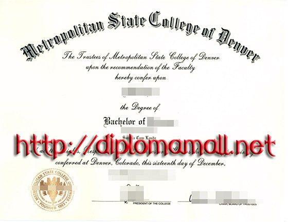 Metropolitan State College of Denve diploma certificate. buy ...