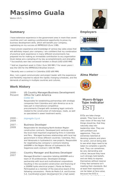 Country Manager Resume samples - VisualCV resume samples database