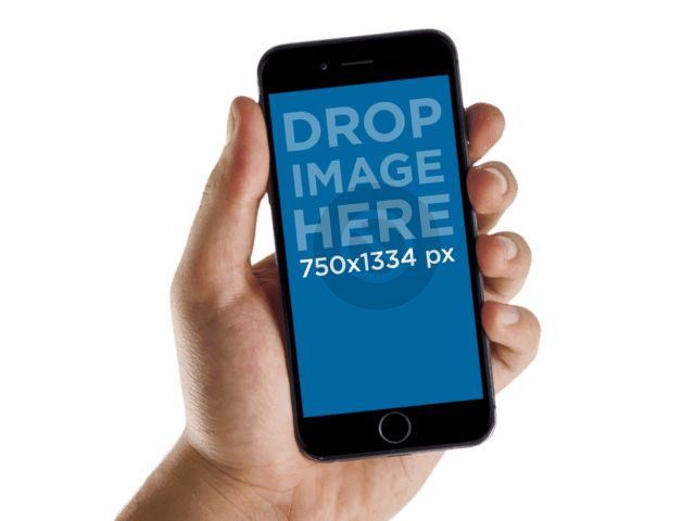 iPhone PNG Mockup Template, Man Holding Black iPhone