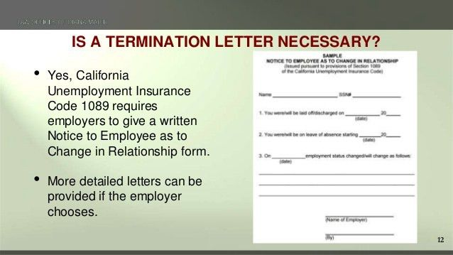 Terminating Employees in California