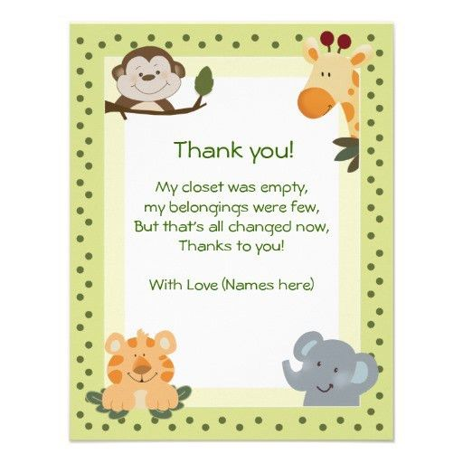 stunning wording baby gift thank you cards various jungle living ...