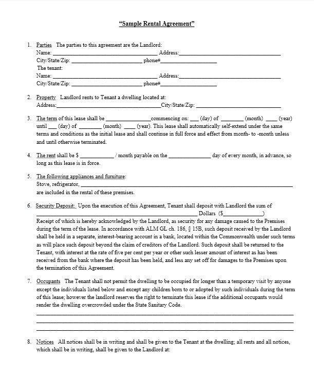 Rental Agreement Sample. Sample Rental Lease Agreement Download .