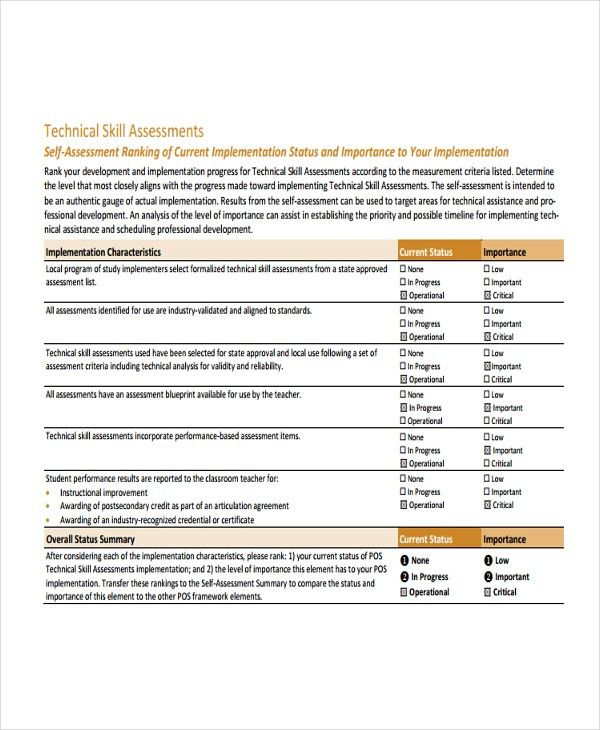 Skills Assessment Template - 9+ Free Word, PDF Document Downloads ...