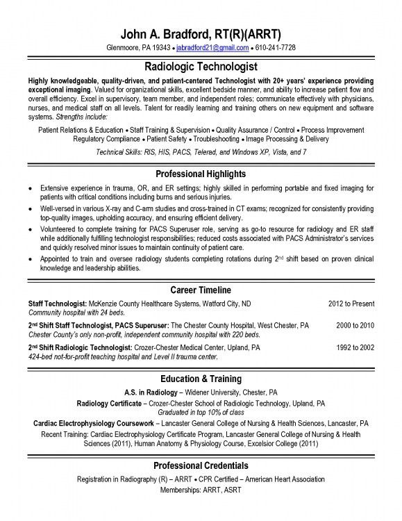 Examples Of Radiologic Technologist Resumes | Resume Template Example