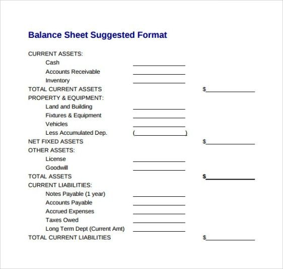 Balance Sheet Templates - Find Word Templates