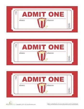 Printable movie ticket invitation from Today's Parent | Parties ...