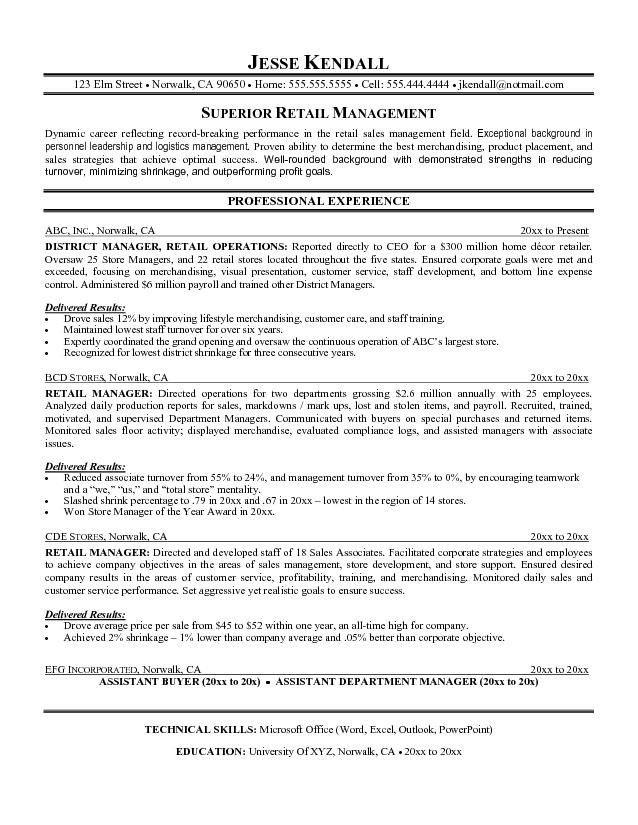 Retail Sales Resume. Retailing Resume Template Sampl Duties Of A ...