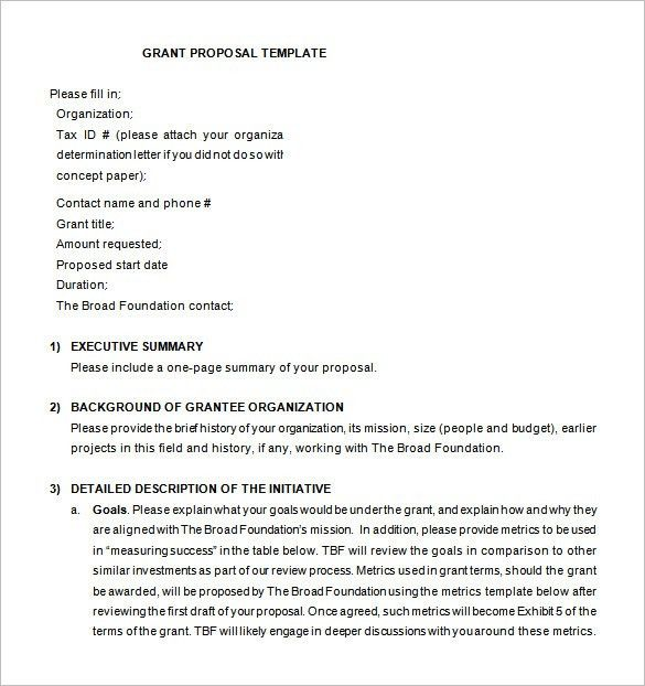 Grant Proposal Template – 12+ Free Sample, Example, Format ...
