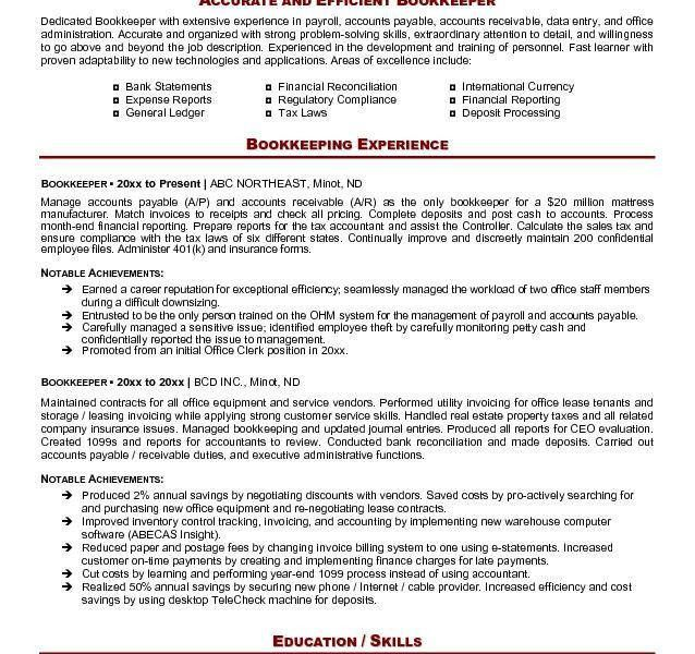 Skillful Design Bookkeeper Resume Sample 2 Resume - Resume Example
