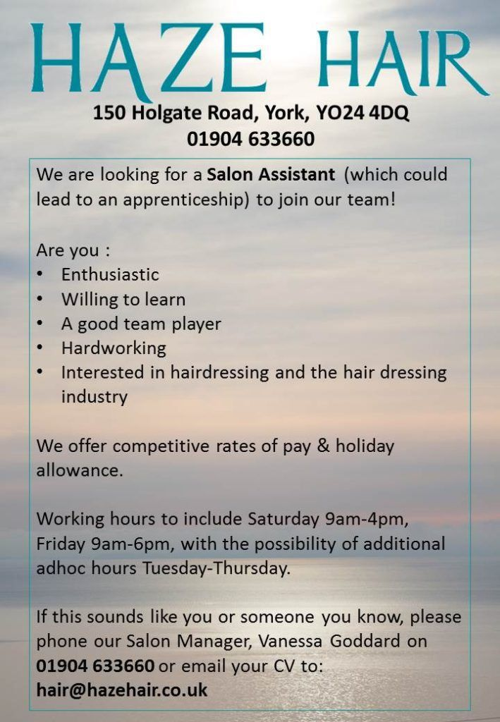 We're Recruiting in our York Salon! | Haze Hair