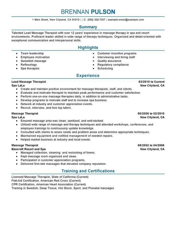 Massage Therapy Resume | The Best Letter Sample
