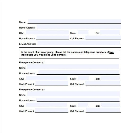 Emergency Contact Forms - 11+ Download Free Documents in PDF , Word