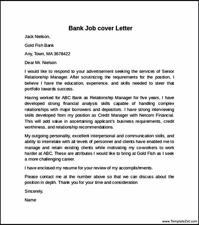 Bank Job cover Letter Example | TemplateZet