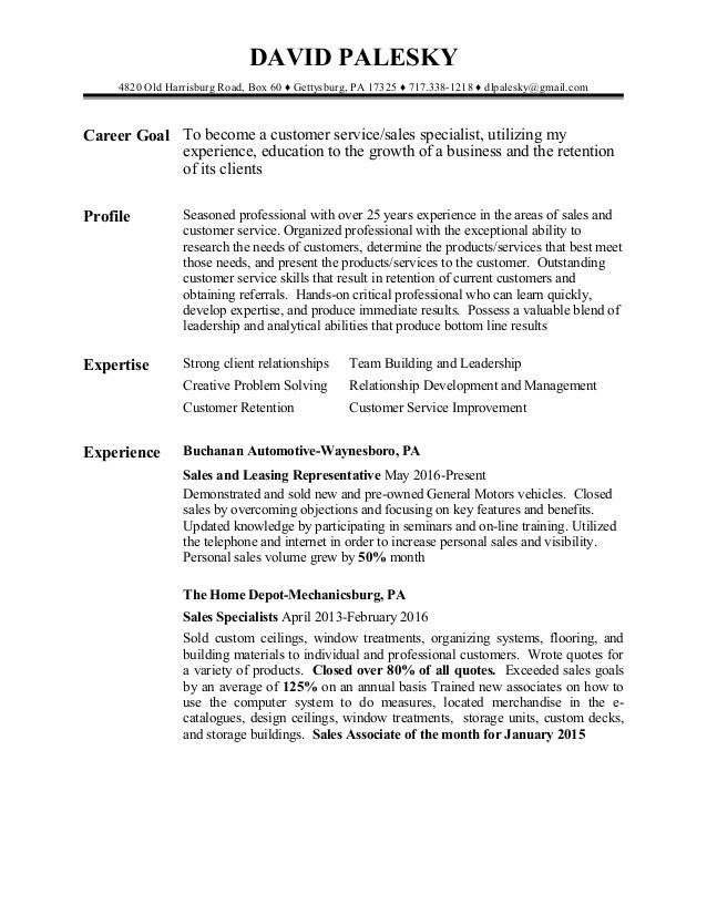 David Palesky Customer Service sales resume