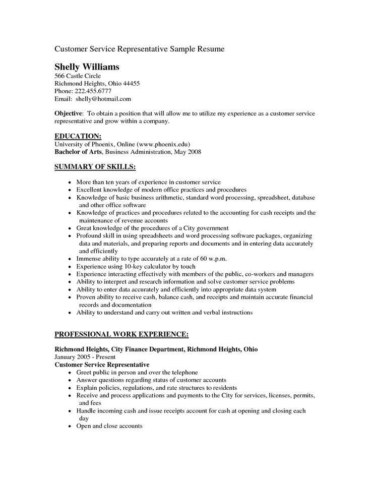 Resume Objective For Customer Service. Gorgeous Inspiration Resume ...