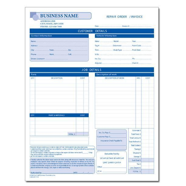 Automotive Repair Invoice - Work Order - Estimates | DesignsnPrint
