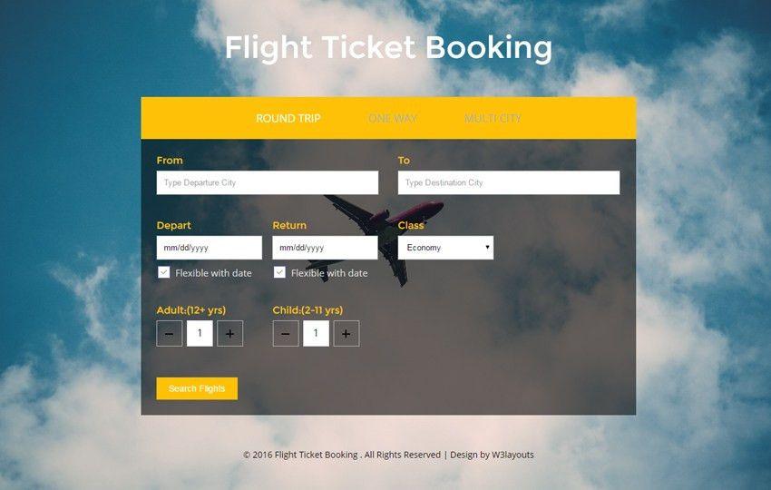 Flight Ticket Booking a Flat Responsive Widget Template