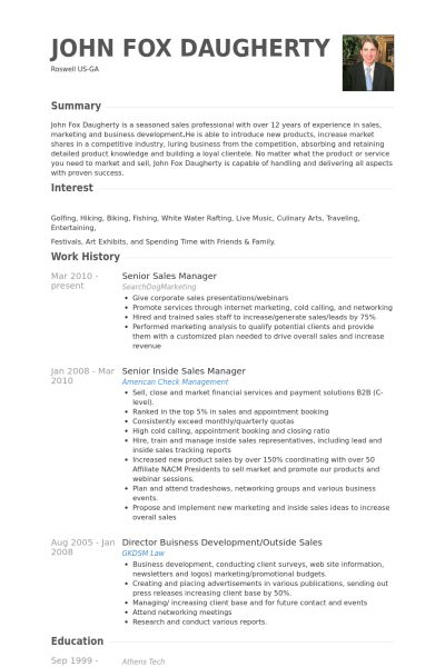 Senior Sales Manager Resume samples - VisualCV resume samples database