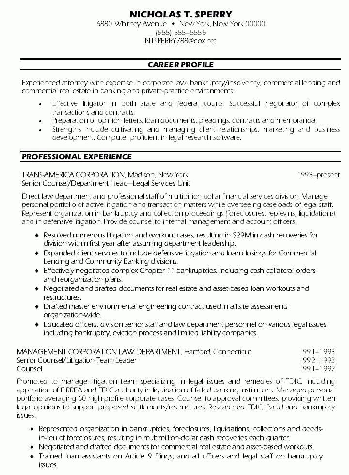 senior counsel resume senior counsel resume sample