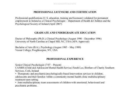 sample psychology resume resume cv cover letter
