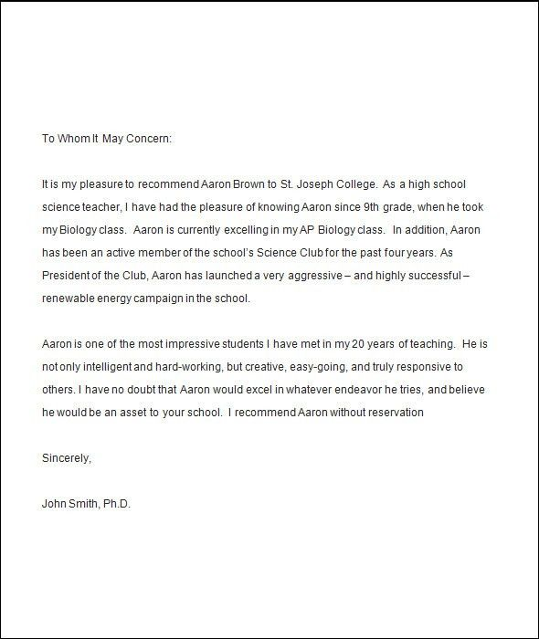 Recommendation Letter Samples. Best 25+ College Recommendation ...