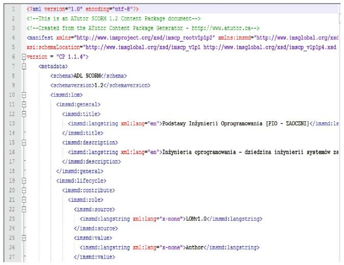 Example of a metadata file conforming SCORM for e-learing course ...