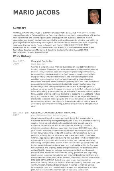 Contrôleur Financier Exemple de CV - Base de données des CV de ...