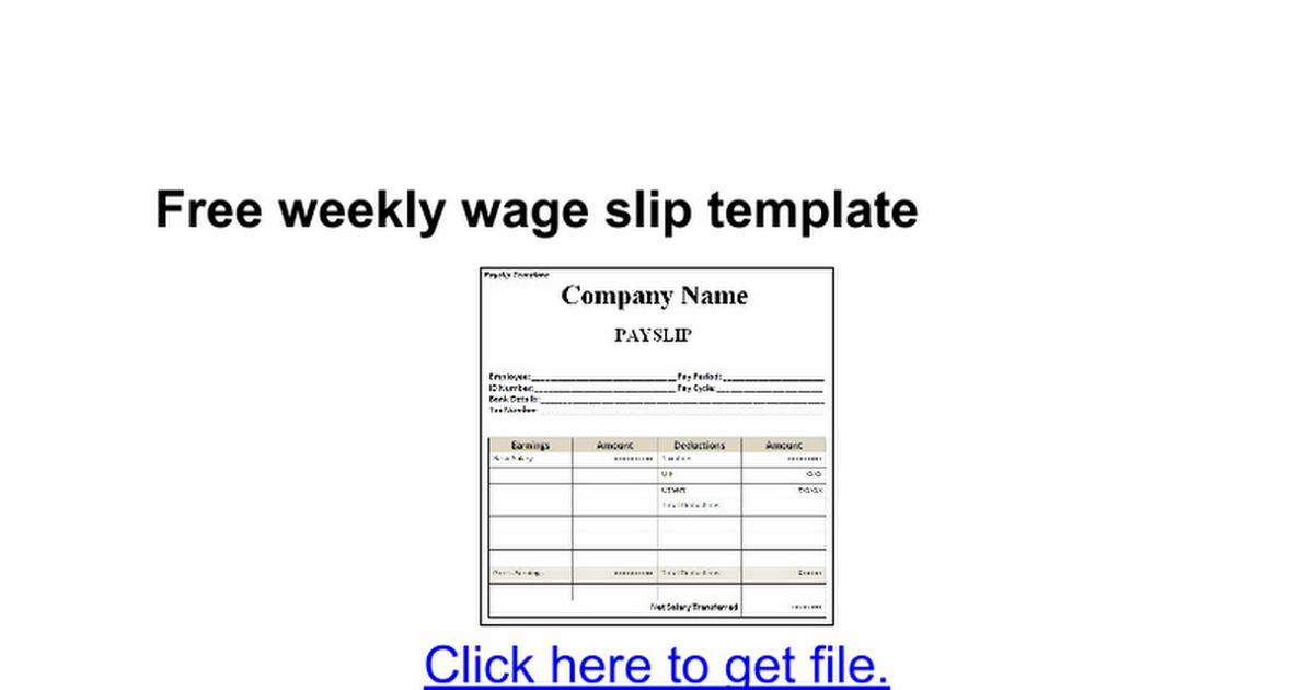 Free weekly wage slip template - Google Docs