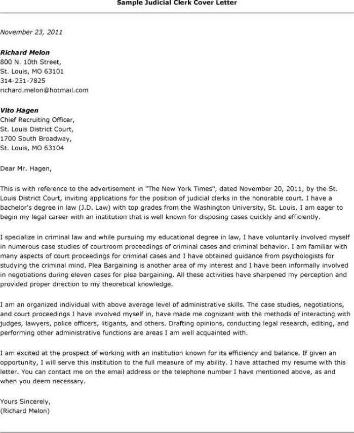 Legal Clerk Cover Letter