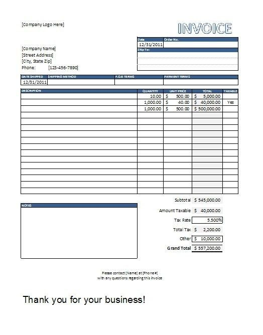 Sample Invoice Template. Microsoft Excel ( Xls) Free Simple Basic ...