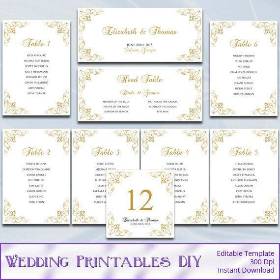 Gold Wedding Seating Chart Template, Diy Elegant Printable ...